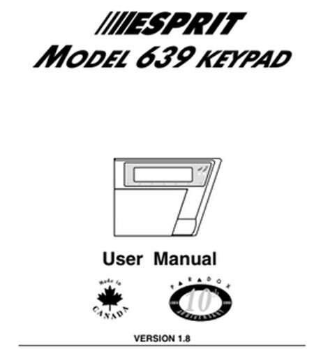 MODEL 639 KEYPAD